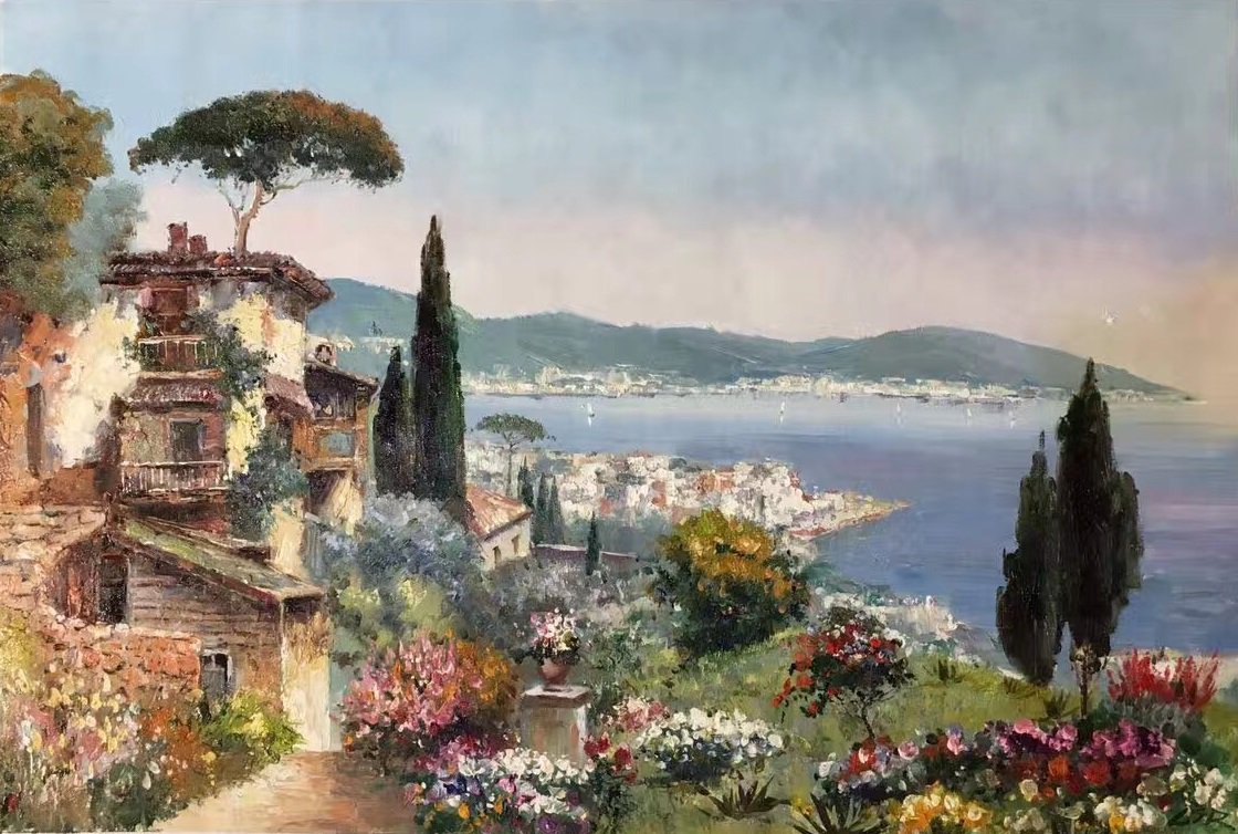 """Hand painted oil painting on canvas""""Sea view Villa""""60x90CM(23.6""""x35.4"""")Unframed-30"""