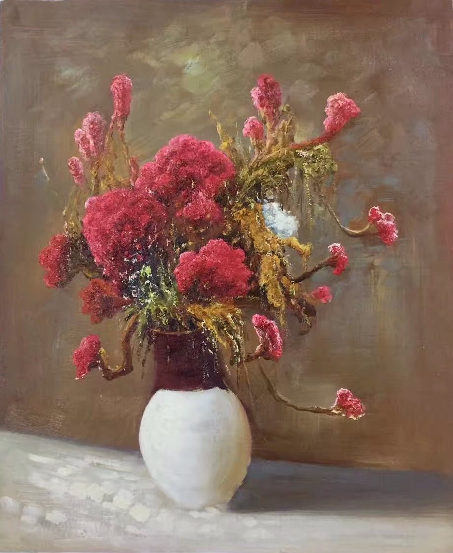 "Simple modern Hand painted oil painting on canvas""Potted flowers""50x60CM(19.7""x23.6"")Unframed-01"