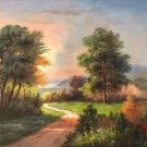 """Hand painted oil painting on canvas""""Image of the countryside""""50x60CM(19.7""""x23.6"""")Unframed-12"""