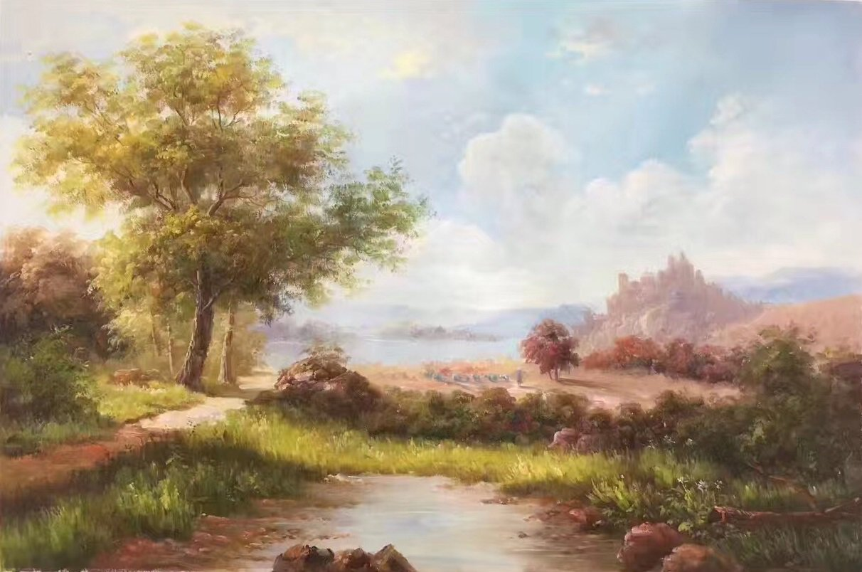 """Hand painted oil painting on canvas""""Image of the countryside""""60x90CM(23.6""""x35.4"""")Unframed-26"""