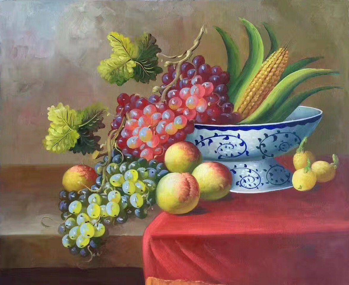 """Hand painted oil painting on canvas""""bumper harvest fruits""""50x60CM(19.7""""x23.6"""")Unframed-09"""