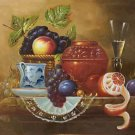 "Hand painted oil painting on canvas""ceramics and harvest fruits""50x60CM(19.7""x23.6"")Unframed-49"