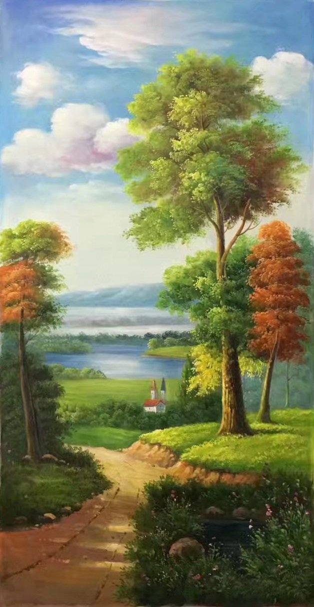 """Hand painted oil painting on canvas""""Image of the countryside""""60x120CM(23.6""""x47.2"""")Unframed-28"""