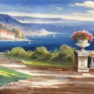 """Hand painted oil painting on canvas""""Sea view Villa""""70x180CM(27.6""""x70.9"""")Unframed-36"""