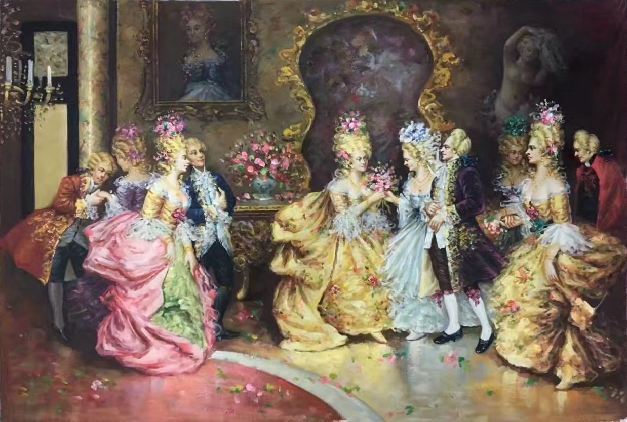 """palace Hand painted oil painting on canvas""""Royal member""""60x90CM(23.6""""x35.4"""")Unframed-13"""