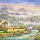 "Hand painted oil painting on canvas""Image of the countryside""70x180CM(27.6""x70.9"")Unframed-29"