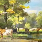 "Hand painted oil painting on canvas""Image of the countryside""70x180CM(27.6""x70.9"")Unframed-30"