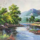"""Hand painted oil painting on canvas""""Creek""""60x90CM(23.6""""x35.4"""")Unframed-52"""