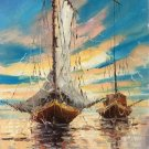 "Hand painted oil painting on canvas""Fishing boat""30x60CM(11.8""x23.6"")Unframed-08"