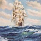 """Simple modern Hand painted oil painting on canvas""""Adventure sailboat""""50x60CM(19.7""""x23.6"""")Unframed-04"""
