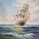 """Simple modern Hand painted oil painting on canvas""""Adventure sailboat""""50x60CM(19.7""""x23.6"""")Unframed-05"""