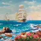 """Hand painted oil painting on canvas""""Adventure sailboat""""90x160CM(35.4""""x63.0"""")Unframed-14"""