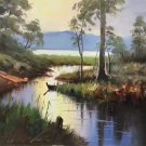 """Hand painted oil painting on canvas""""Creek""""50x60CM(19.7""""x23.6"""")Unframed-53"""