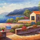 """Hand painted oil painting on canvas""""Sea view Villa""""60x120CM(23.6""""x47.2"""")Unframed-38"""