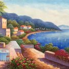 """Hand painted oil painting on canvas""""Sea view Villa""""60x120CM(23.6""""x47.2"""")Unframed-40"""
