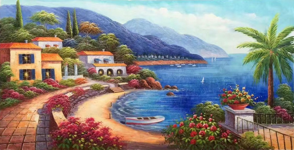 """Hand painted oil painting on canvas""""Sea view Villa""""60x120CM(23.6""""x47.2"""")Unframed-41"""