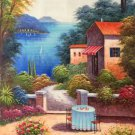 """Hand painted oil painting on canvas""""Sea view Villa""""60x120CM(23.6""""x47.2"""")Unframed-45"""