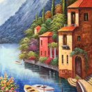 """Hand painted oil painting on canvas""""Sea view Villa""""60x120CM(23.6""""x47.2"""")Unframed-46"""