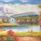 """Hand painted oil painting on canvas""""Mountain and water""""70x180CM(27.6""""x70.9"""")Unframed-64"""