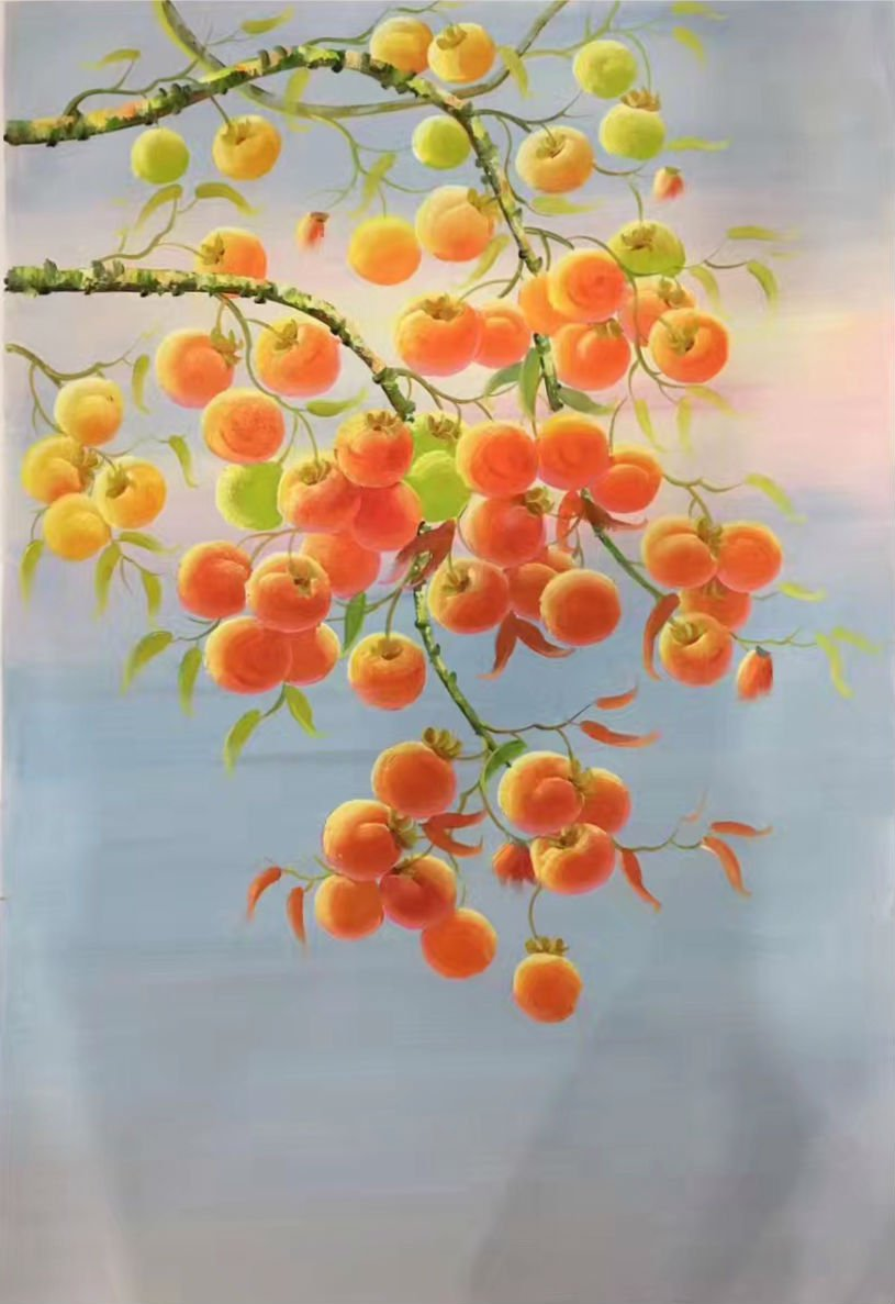 """Hand painted oil painting on canvas""""persimmon""""60x90CM(23.6""""x35.4"""")Unframed-23"""