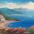 """Hand painted oil painting on canvas""""Sea view Villa""""70x180CM(27.6""""x70.9"""")Unframed-52"""