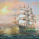 """Simple modern Hand painted oil painting on canvas""""Adventure sailboat""""60x90CM(23.6""""x35.4"""")Unframed-17"""
