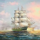 """Simple modern Hand painted oil painting on canvas""""Adventure sailboat""""60x90CM(23.6""""x35.4"""")Unframed-18"""