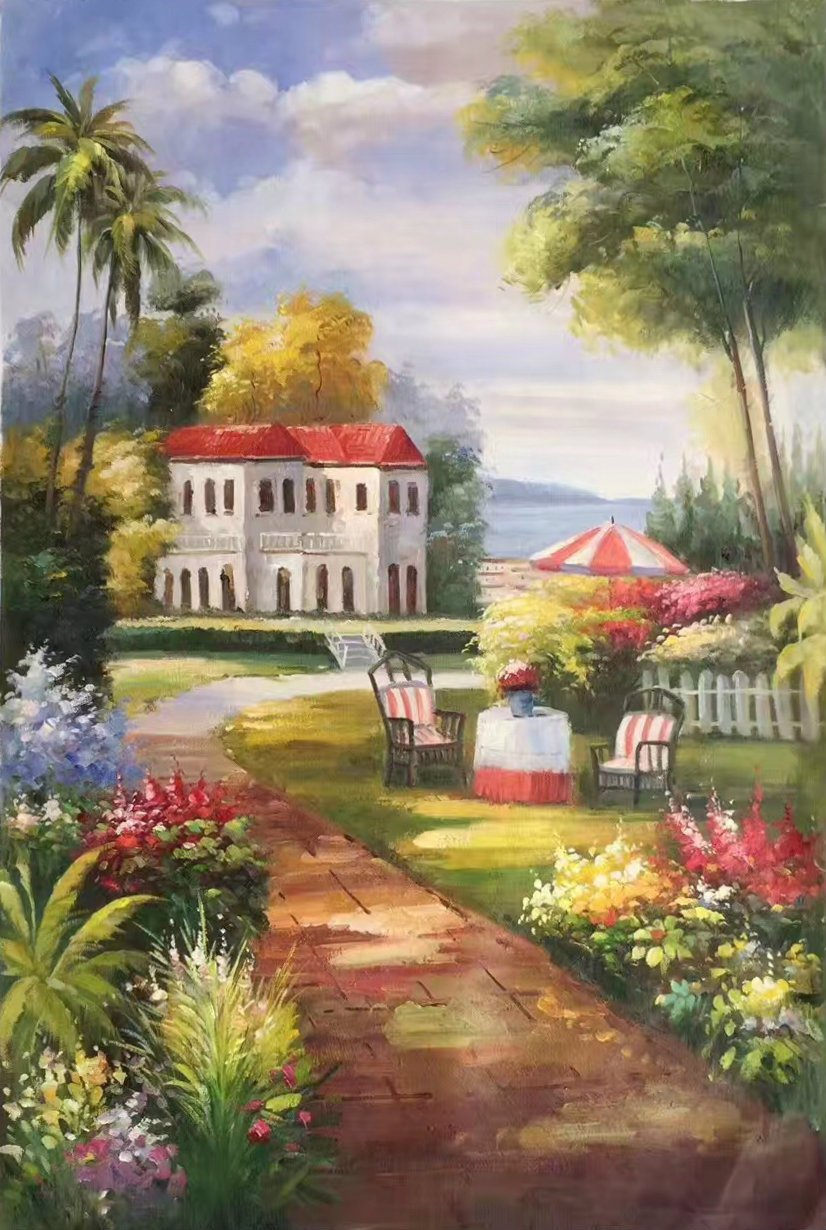 "Mediterranean Hand painted oil painting on canvas""Sea view Villa""60x90CM(23.6""x35.4"")Unframed-59"