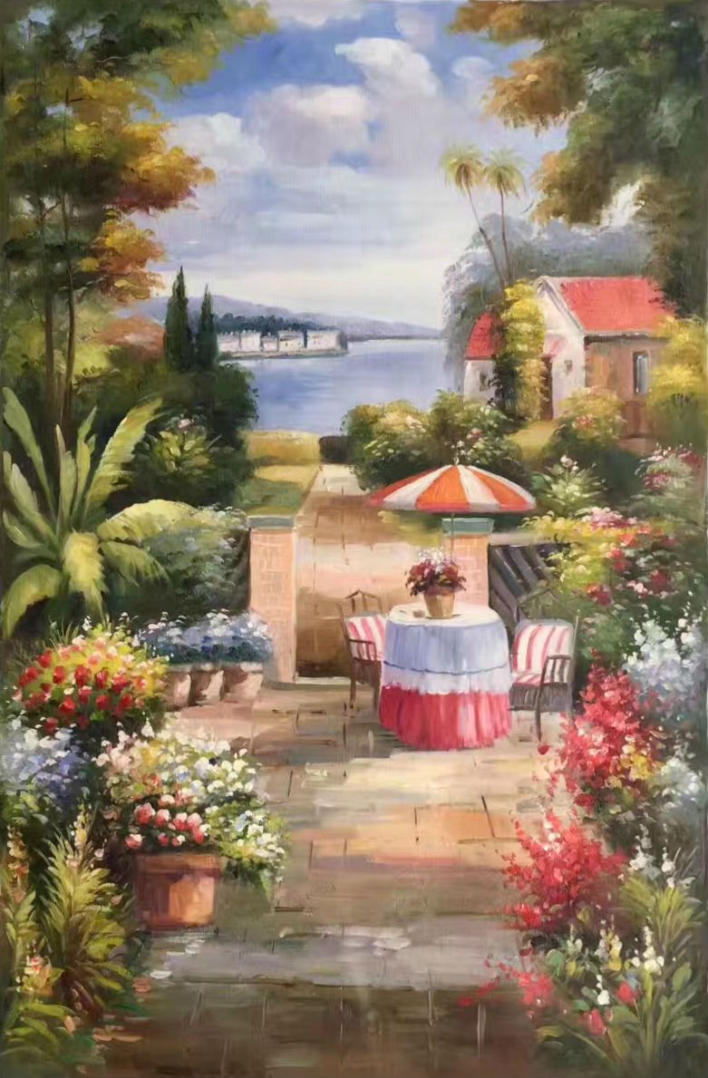 """Mediterranean Hand painted oil painting on canvas""""Sea view Villa""""60x90CM(23.6""""x35.4"""")Unframed-60"""