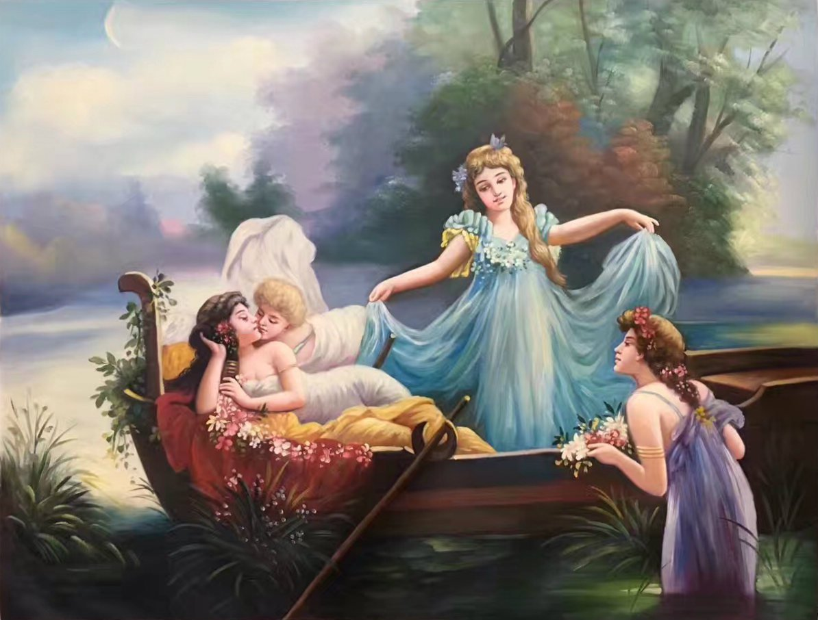 "Hand painted oil painting on canvas""Beautiful fairy tale""90x120CM(35.4""x47.2"")Unframed-16"