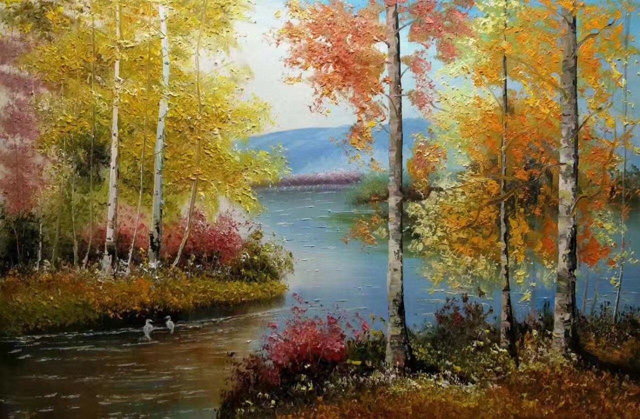 """Nordic style Hand painted oil painting on canvas""""forest""""60x90CM(23.6""""x35.4"""")Unframed-31"""