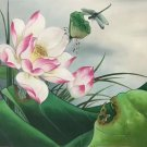 "Chinese style Hand painted oil painting on canvas""lotus""50x60CM(19.7""x23.6"") Unframed-09"