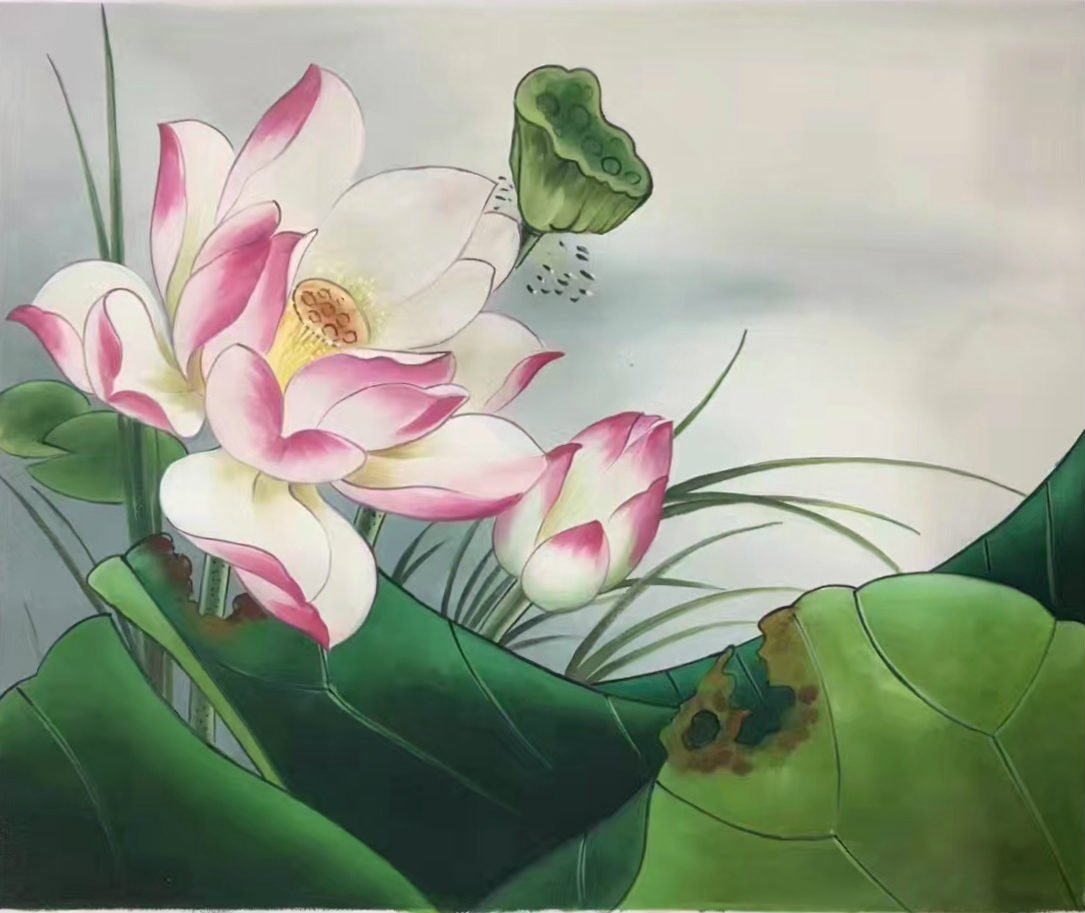 "Chinese style Hand painted oil painting on canvas""lotus""50x60CM(19.7""x23.6"") Unframed-13"