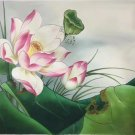 """Chinese style Hand painted oil painting on canvas""""lotus""""50x60CM(19.7""""x23.6"""")Unframed-13"""