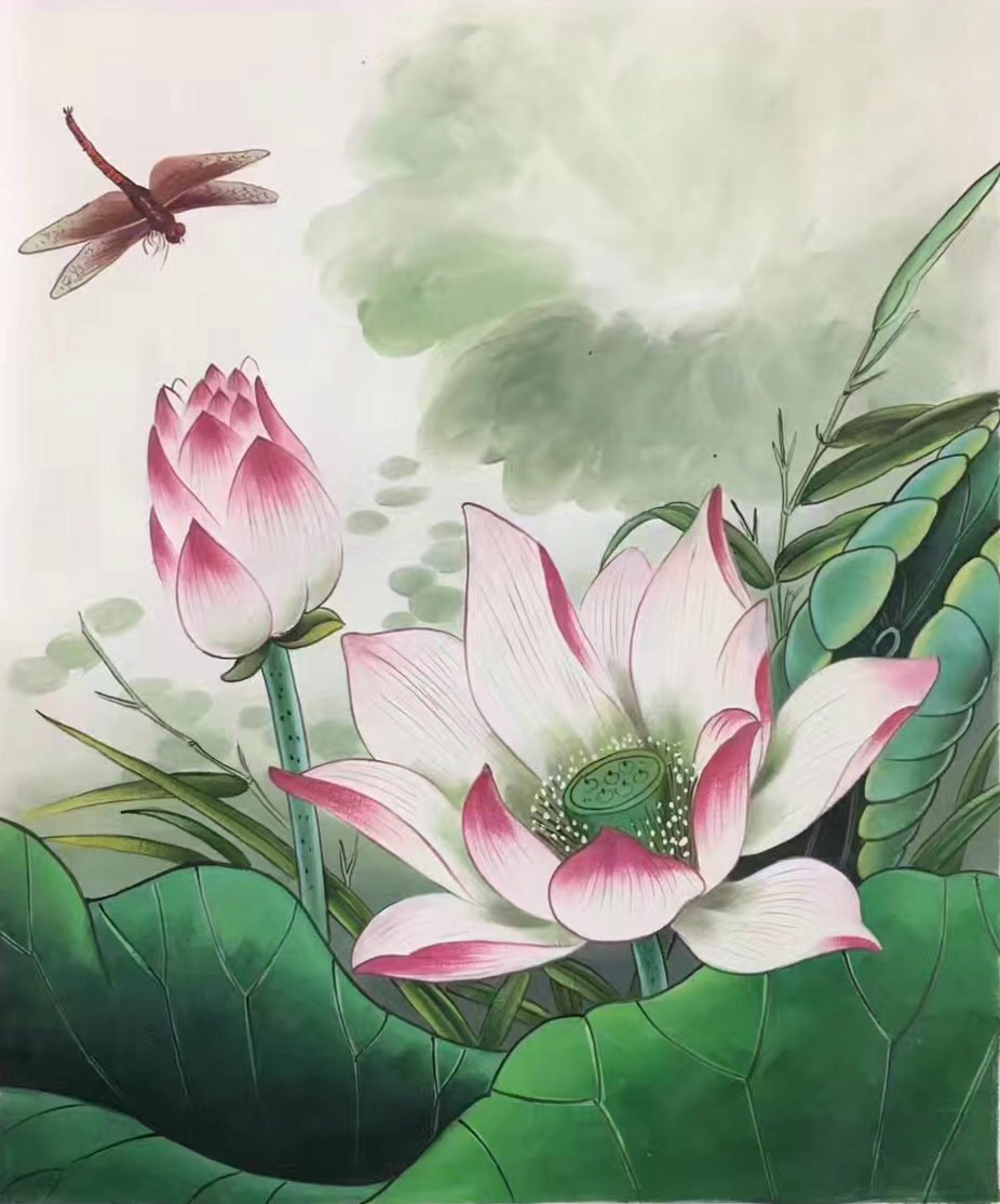 """Chinese style Hand painted oil painting on canvas""""lotus""""50x60CM(19.7""""x23.6"""")Unframed-15"""