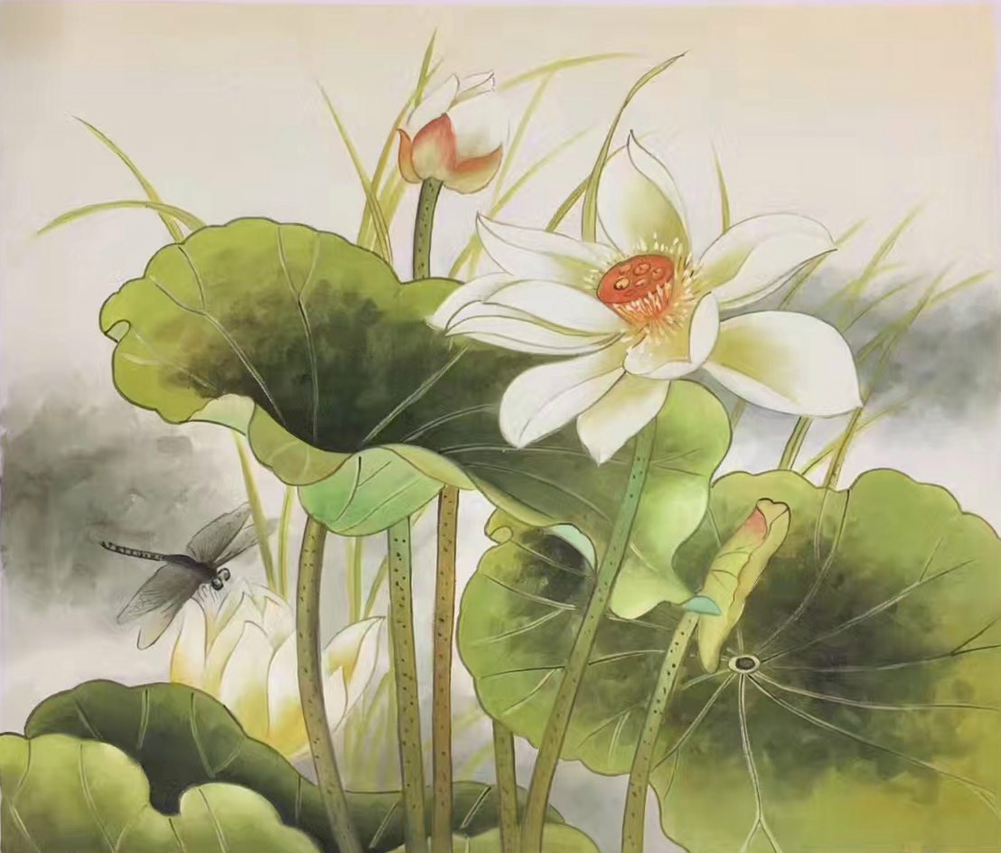 """Chinese style Hand painted oil painting on canvas""""lotus""""50x60CM(19.7""""x23.6"""")Unframed-23"""
