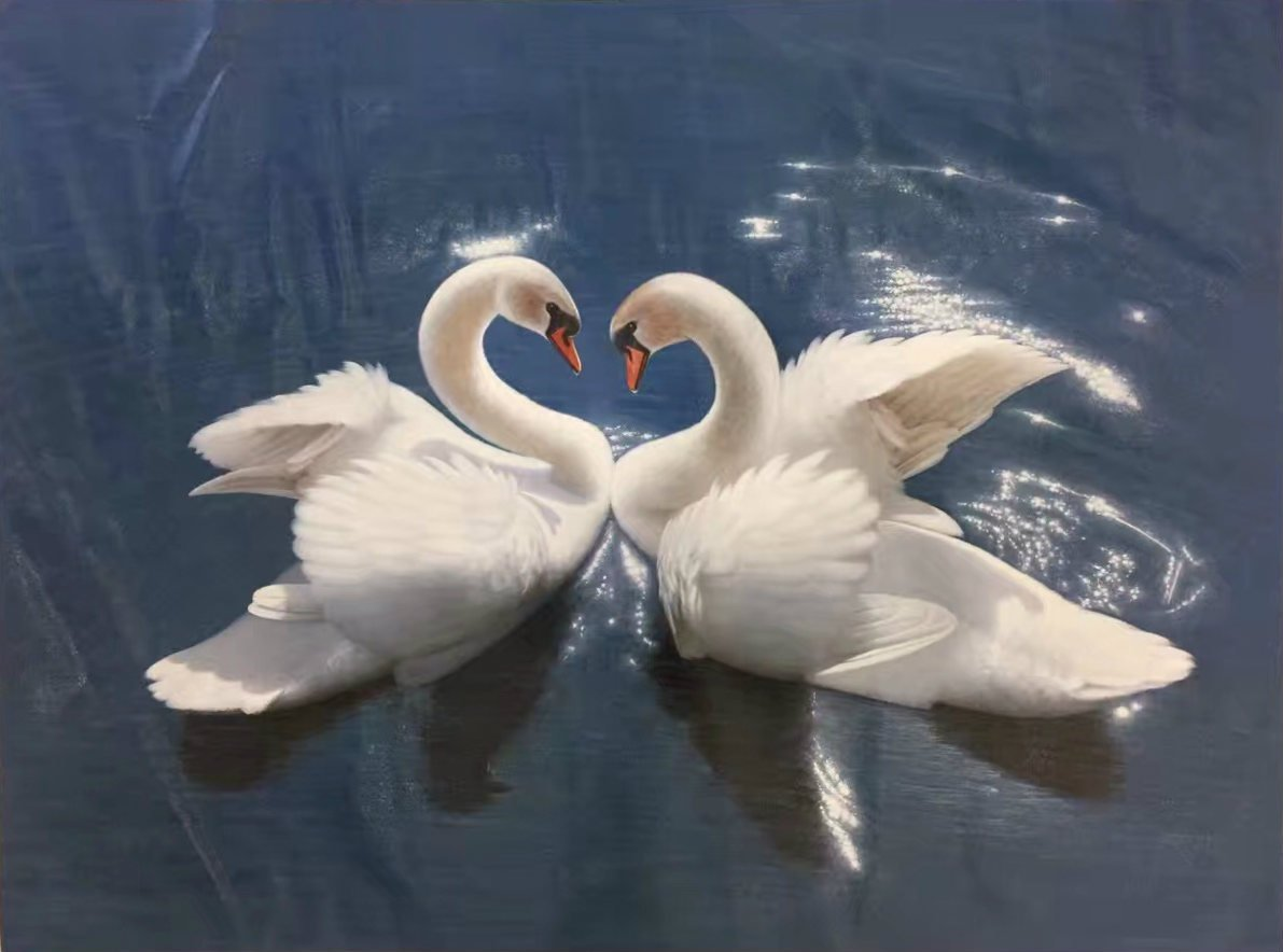 """Simple modern Hand painted oil painting on canvas""""swan""""75x100CM(29.5x39.4inch)Unframed-12"""