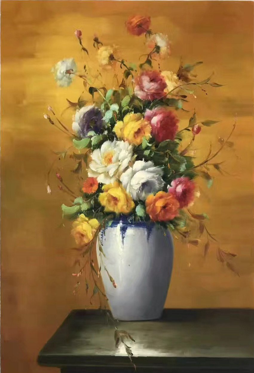 """Simple modern Hand painted oil painting on canvas""""Potted flowers""""60x90CM(23.6""""x35.4"""")Unframed-32"""