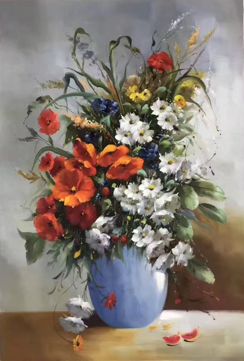 """Simple modern Hand painted oil painting on canvas""""Potted flowers""""60x90CM(23.6""""x35.4"""")Unframed-33"""