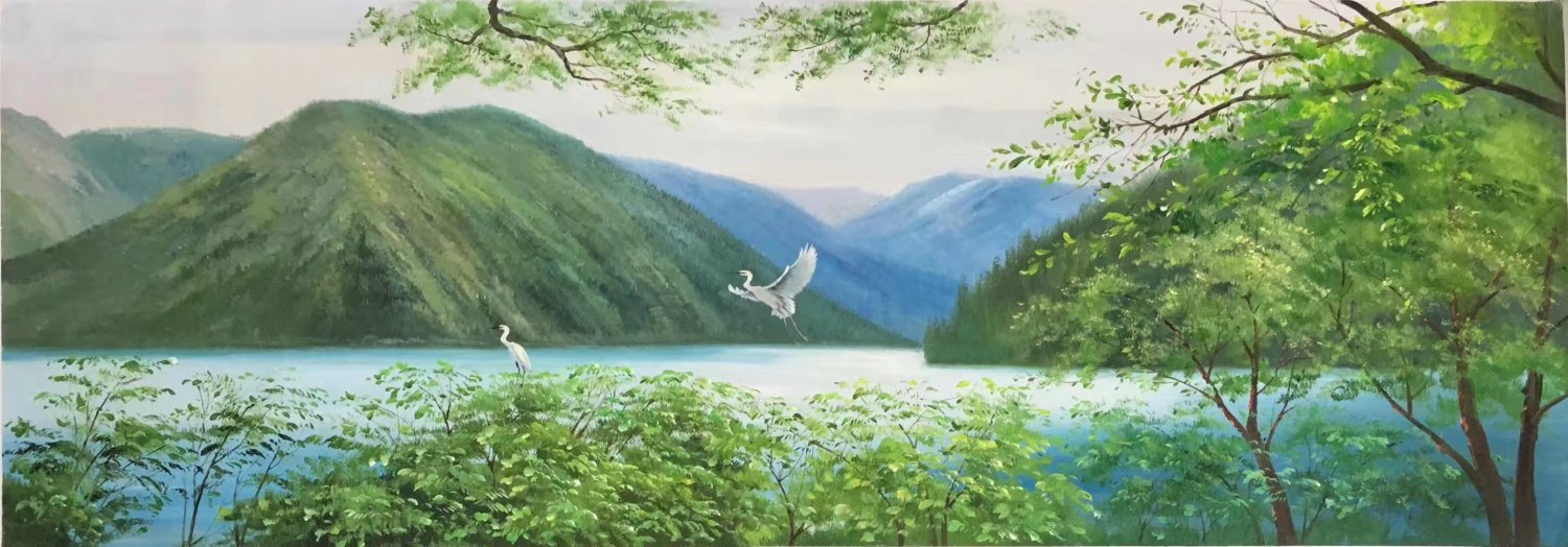 """American style Hand painted oil painting on canvas""""Creek""""50x100CM(19.7""""x39.4inch)Unframed-80"""
