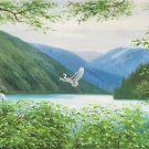 "American style Hand painted oil painting on canvas""Creek""50x100CM(19.7""x39.4inch)Unframed-80"