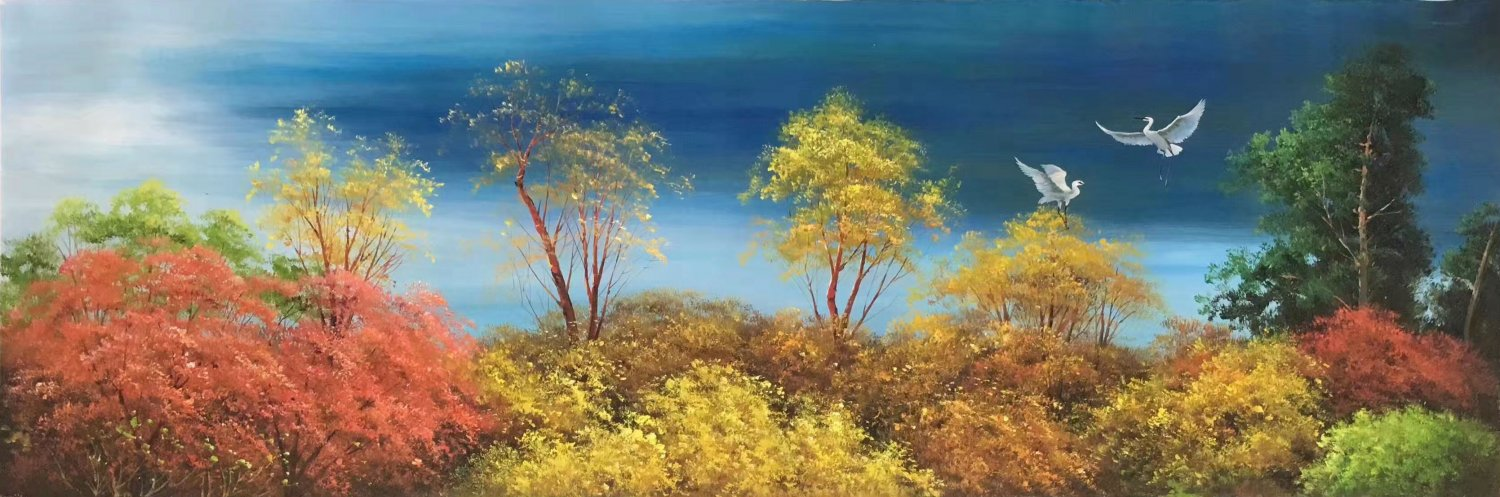 "American style Hand painted oil painting on canvas""Creek""50x100CM(19.7""x39.4inch)Unframed-81"