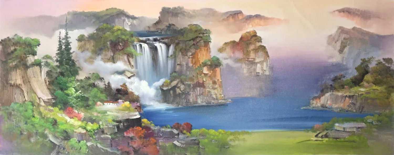"""Hand painted oil painting on canvas""""Mountains and rivers unlimited""""70x180CM(27.6""""x70.9"""")Unframed-12"""