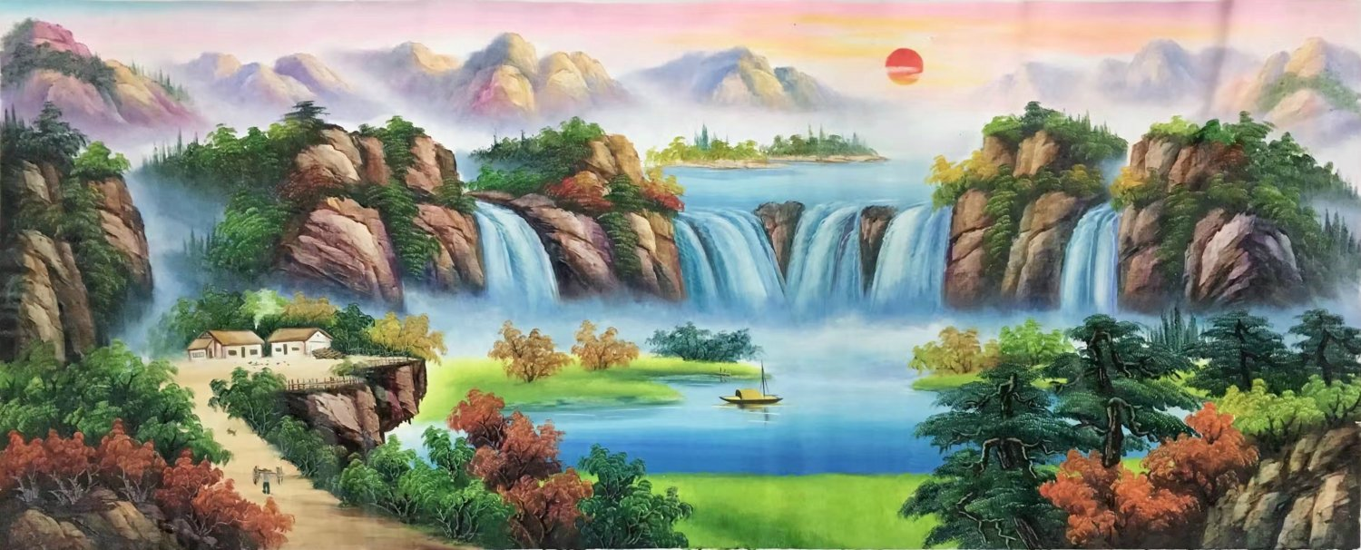 "Hand painted oil painting on canvas""Mountains and rivers unlimited""70x180CM(27.6""x70.9"")Unframed-85"