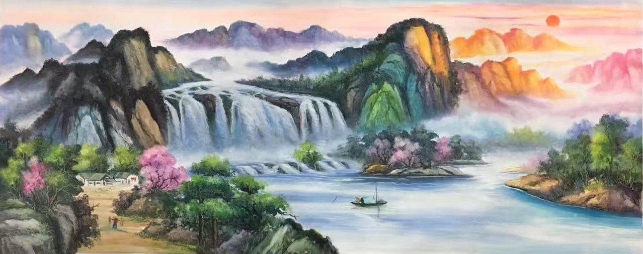 """Hand painted oil painting on canvas""""Mountains and rivers unlimited""""70x180CM(27.6""""x70.9"""")Unframed-87"""