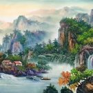 """Hand painted oil painting on canvas""""Mountains and rivers unlimited""""70x180CM(27.6""""x70.9"""")Unframed-88"""