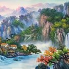 """Hand painted oil painting on canvas""""Mountains and rivers unlimited""""70x180CM(27.6""""x70.9"""")Unframed-89"""