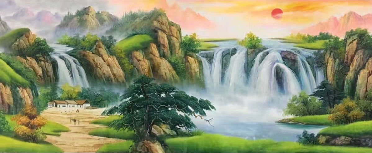 "Hand painted oil painting on canvas""Mountains and rivers unlimited""70x180CM(27.6""x70.9"")Unframed-90"