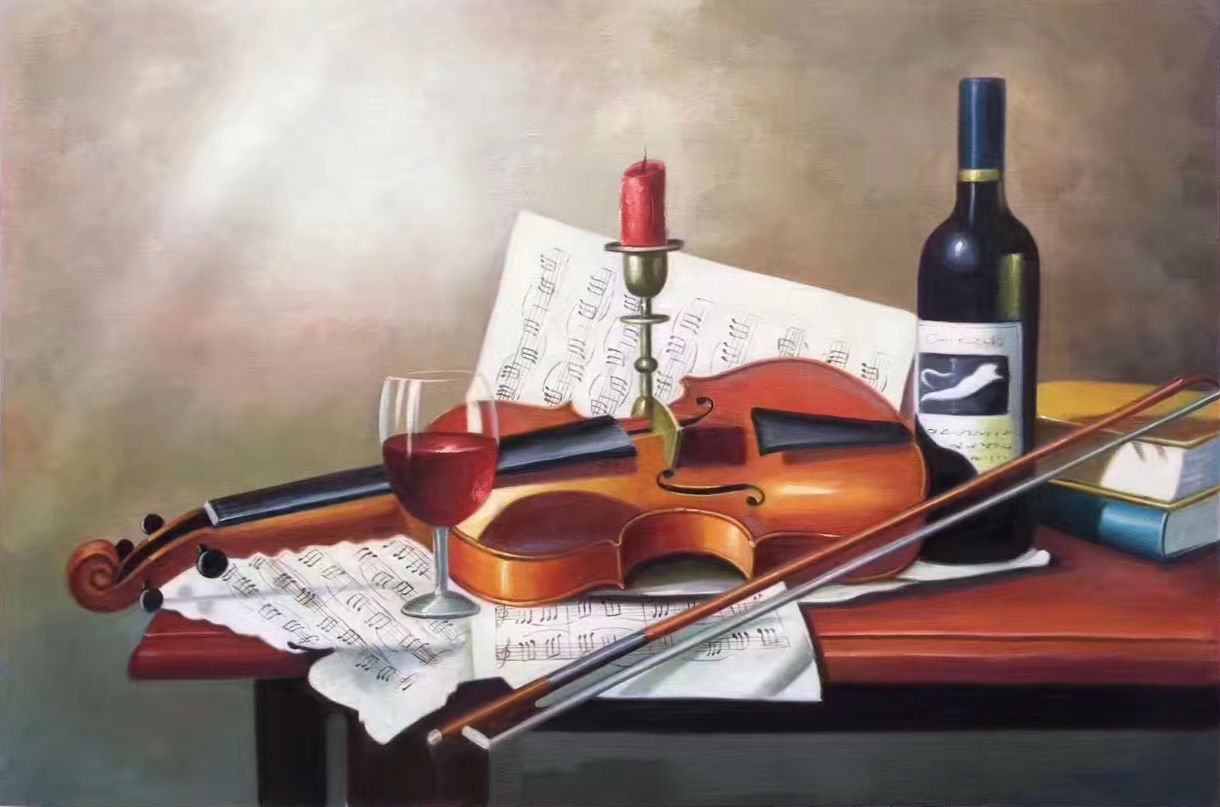 "Simple modern Hand painted oil painting on canvas""violin""60x90CM(23.6""x35.4"")Unframed-03"