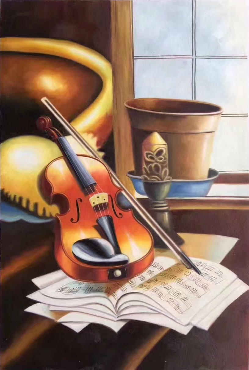 "Simple modern Hand painted oil painting on canvas""violin""60x90CM(23.6""x35.4"")Unframed-05"